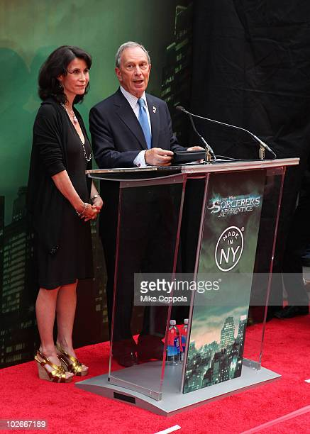 Commissioner of the Mayor's Office of Media and Entertainment Katherine Oliver and Mayor Michael Bloomberg attend the premiere of The Sorcerer's...