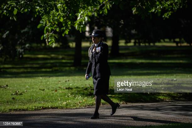 Commissioner of the Metropolitan Police Cressida Dick arrives before laying a wreath at the 7/7 memorial in Hyde Park to mark the fifteenth...