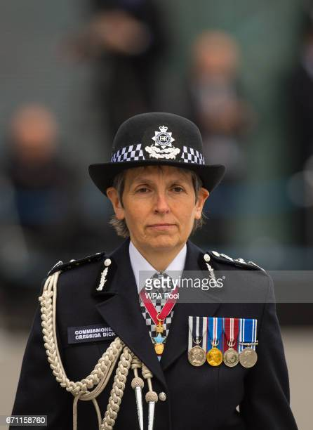 Commissioner of the Metropolitan Police Cressida Dick attends her first passingout parade at the Metropolitan Police Academy at Peel House Hendon on...