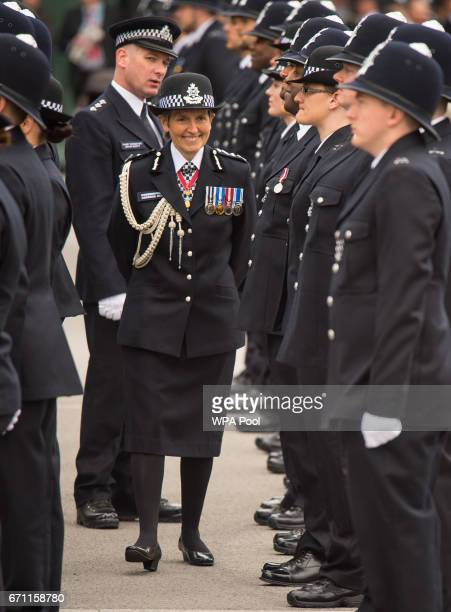 Commissioner of the Metropolitan Police Cressida Dick inspects new officers as she attends her first passingout parade at the Metropolitan Police...