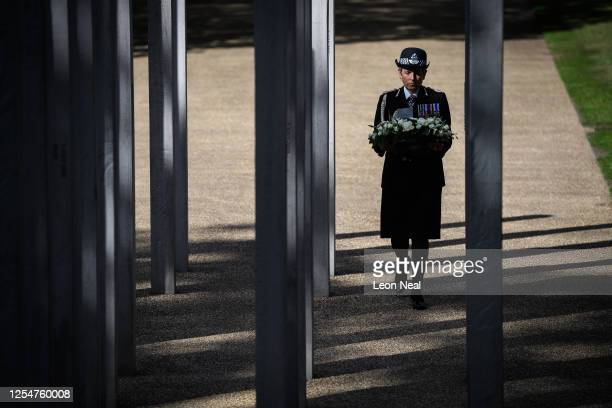 Commissioner of the Metropolitan Police Cressida Dick lays a wreath at the 7/7 memorial in Hyde Park to mark the fifteenth anniversary of the London...