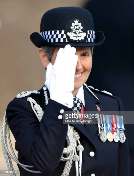 Commissioner of the Metropolitan Police Cressida Dick salutes as she attends the Metropolitan Police Service Passing Out Parade for new recruits at...