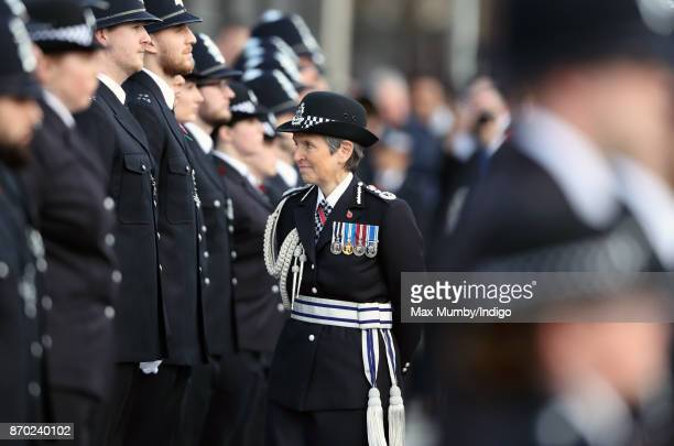 Commissioner of the Metropolitan Police Cressida Dick talks with graduating officers during the Metropolitan Police Service Passing Out Parade for...