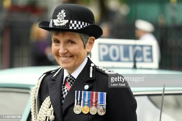 Commissioner of the Metropolitan Police Service Cressida Dick poses with an Austin 1100 police car at Westminster Abbey ahead of a special service to...