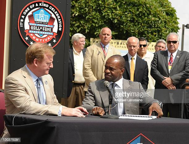 Commissioner of the National Football League, Roger Goodell and Director of the National Football League Players' Association, DeMaurice Smith sign...