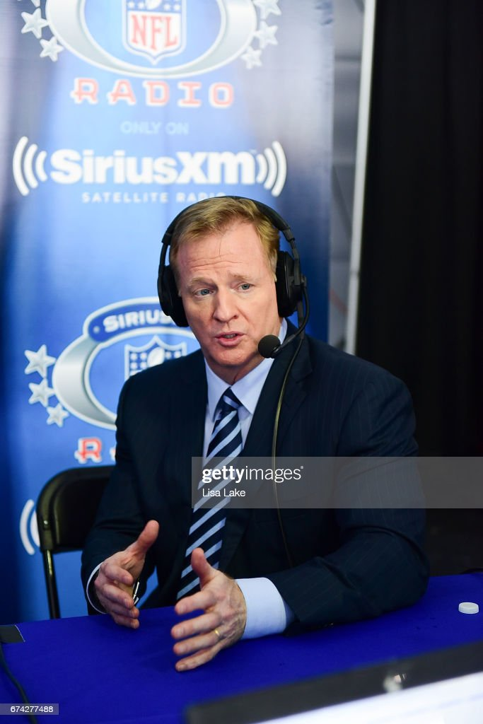Commissioner of the National Football League, Roger Goodell visits SiriusXM NFL Radio during the first round of the 2017 NFL Draft at Philadelphia Museum of Art on April 27, 2017 in Philadelphia, Pennsylvania.