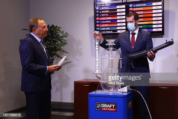 Commissioner of the National Hockey League Gary Bettman presides over the 2021 NHL Draft Lottery as Nicholas Markert of Smart Play International...