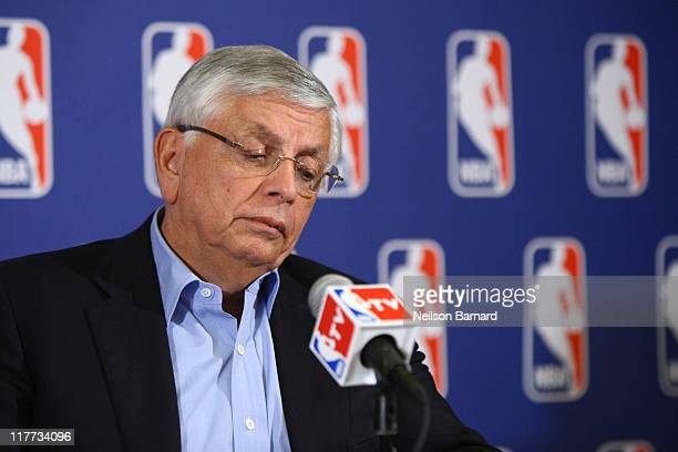 Commissioner of the NBA, David Stern announces that a lockout will go ahead as NBA labor negotiations break down at Omni Hotel on June 30, 2011 in...