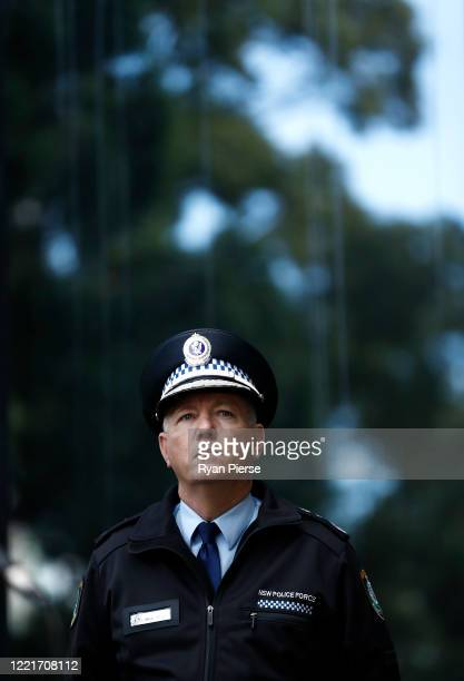 Commissioner of the New South Wales Police Force Mick Fuller speaks during a media briefing on April 29 2020 in Sydney Australia NSW Premier Gladys...