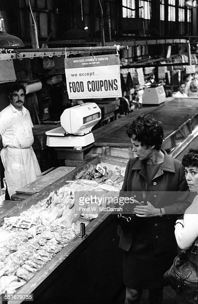 Commissioner of the New York City Department of Consumer Affairs Bess Myerson shops a Harlem public market New York New York September 30 1970