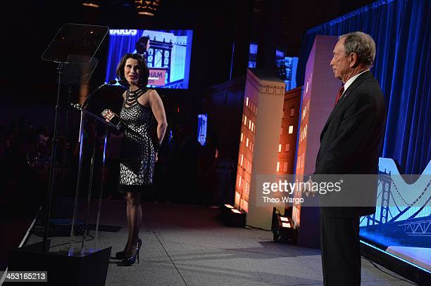 Commissioner of the New York City Mayor's Office of Media and Entertainment Katherine Oliver and Mayor of New York City Michael Bloomberg onstage at...
