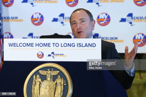 Commissioner of the NHL Gary Bettman speaks to the media at Turf Field Club on December 20 2017 in South Ozone Park New York