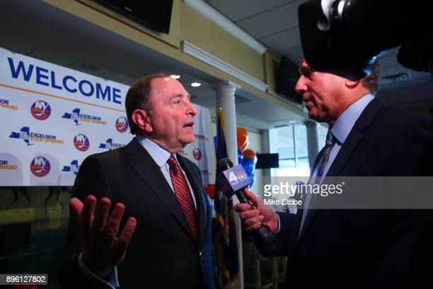 Commissioner of the NHL Gary Bettman speaks to the media following a press conference at Turf Field Club on December 20 2017 in South Ozone Park New...
