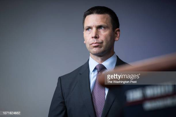 Commissioner of US Customs and Border Protection Kevin McAleenan listens as Secretary of Homeland Security Kirstjen Nielsen speaks during a news...