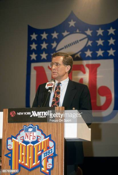 Commissioner Paul Tagliabue stands in front of the podium during the 1993 NFL draft April 25 1993 at the Marriott Marquis Hotel in the Manhattan...