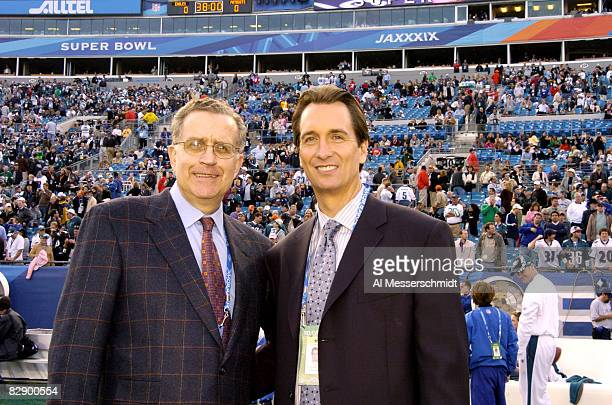 NFL Commissioner Paul Tagliabue stands with Cris Collinsworth prior to Superbowl XXXIX at Alltel Stadium in Jacksonville Florida on February 6 2005