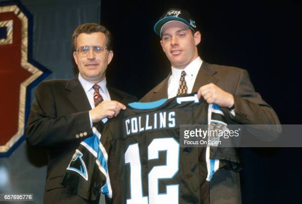 Commissioner Paul Tagliabue stands with Kerry Collins the number 1 draft pick of the Carolina Panthers in the 1995 NFL draft April 22 1995 at Madison...