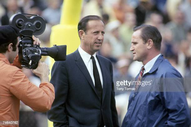 NFL Commissioner Pete Rozelle and head coach Don Shula of the Baltimore Colts talk on the field prior to Super Bowl III on January 12 1969 against...