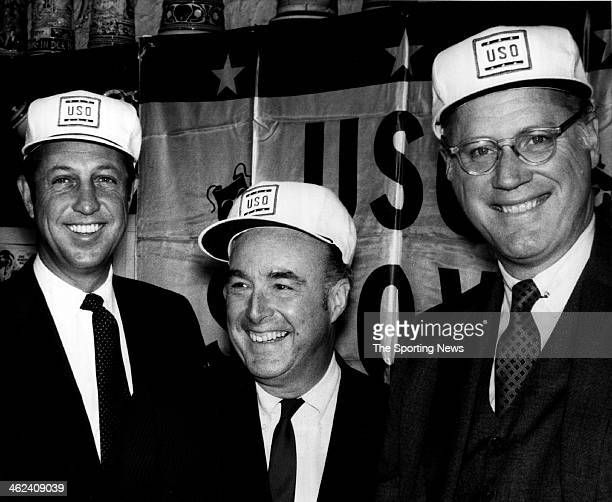 NFL Commissioner Pete Rozelle NBA Commissioner Walter Kennedy and Major League Baseball Commissioner Bowie Kuhn get together for a luncheon sponsored...