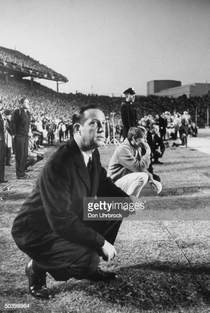 NFL Commissioner Pete Rozelle watching championship game between Green Bay and Dallas