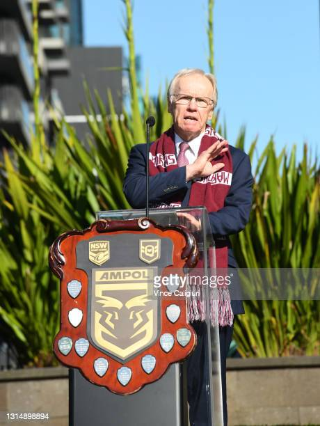 Commissioner Peter Beattie is seen during the 2021 State or Origin Launch at Arts Centre Melbourne on April 28, 2021 in Melbourne, Australia.