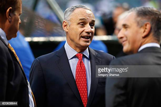 Commissioner Rob Manfred is seen prior to Game Seven of the 2016 World Series between the Chicago Cubs and the Cleveland Indians at Progressive Field...