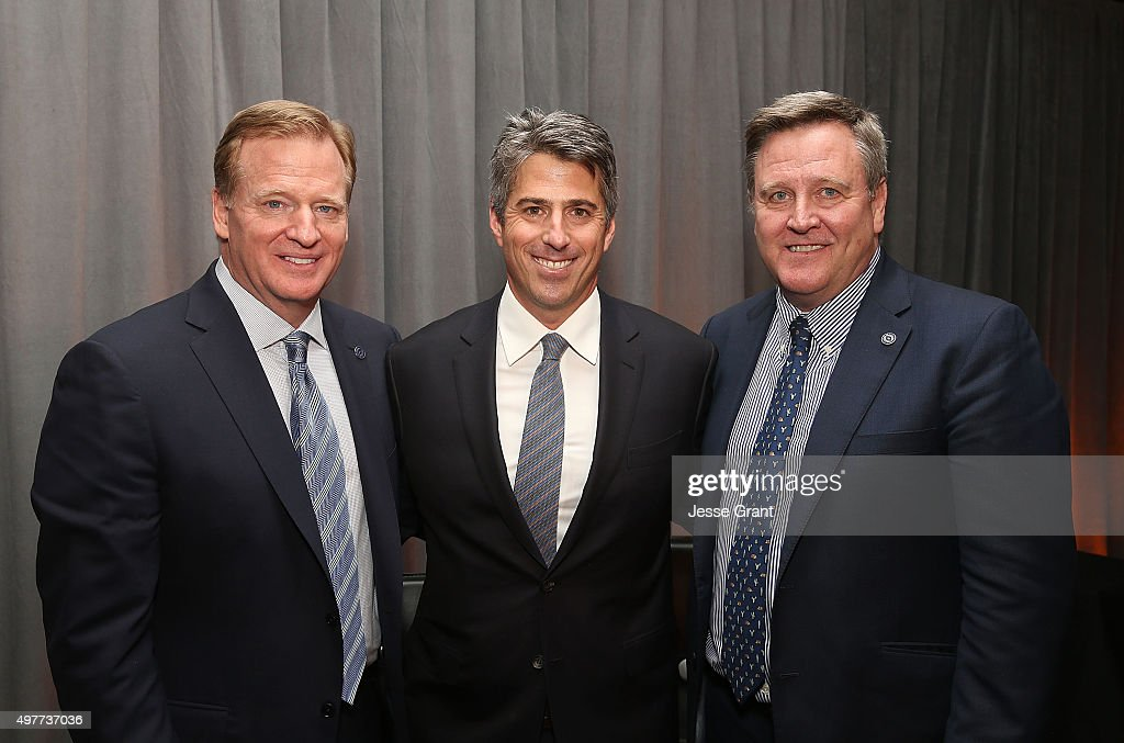 NFL Commissioner, Rodger Goodel, Wasserman Media Group CEO, Casey Wassermanl and U.S. Olympic Commitee CEO, Scott Blackmun attend the National Football Foundation Leadership Hall of Fame Luncheon Honoring Casey Wasserman at UCLA's Pauley Pavilion on November 18, 2015 in Westwood, California.