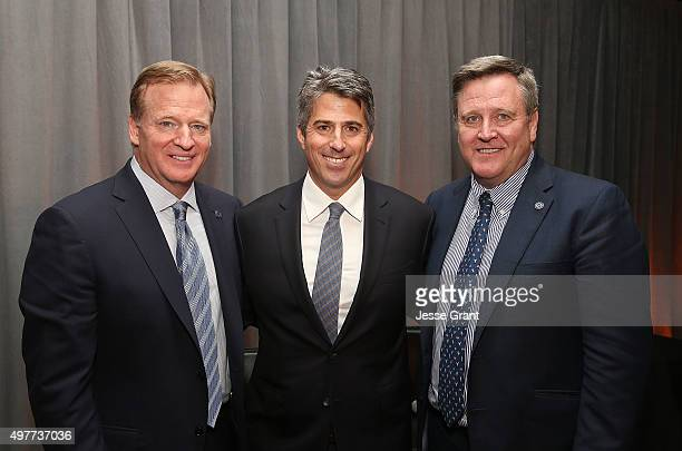 NFL Commissioner Rodger Goodel Wasserman Media Group CEO Casey Wassermanl and US Olympic Commitee CEO Scott Blackmun attend the National Football...