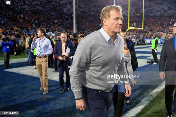 Commissioner Rodger Goodell attends the NFC Wild Card Playoff Game between the Los Angeles Rams and the Atlanta Falcons at the Los Angeles Coliseum...