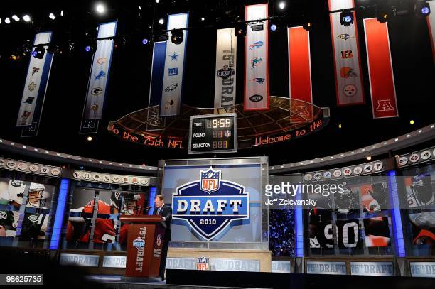 Commissioner Roer Goodell stands at the podium on stage during the first round of the 2010 NFL Draft at Radio City Music Hall on April 22 2010 in New...