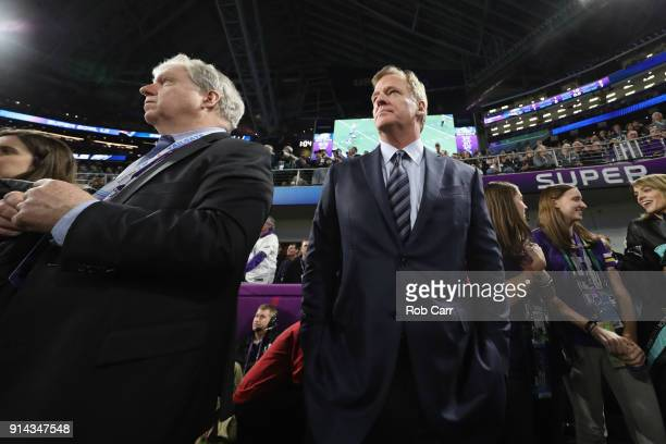 NFL commissioner Roger Godell looks on after the Philadelphia Eagles defeated the New England Patriots in Super Bowl LII at US Bank Stadium on...