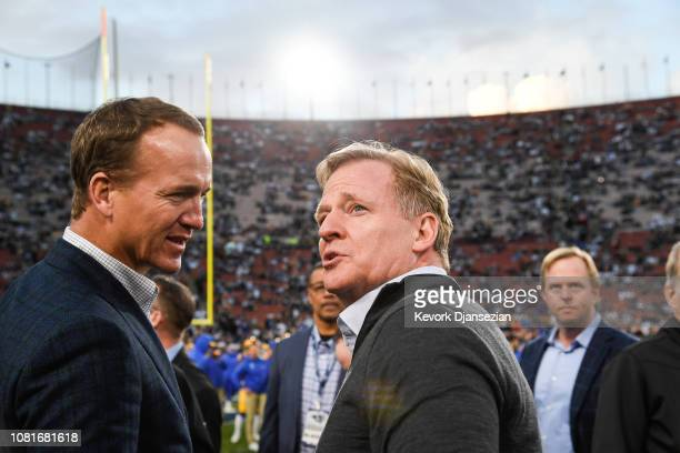 Commissioner Roger Goodell and former NFL quarterback Peyton Maning talk ahead of the NFC Divisional Round playoff game between the Los Angeles Rams...