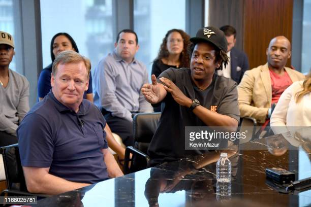 Commissioner Roger Goodell and Jay Z at the Roc Nation and NFL Partnership Announcement at Roc Nation on August 14, 2019 in New York City.