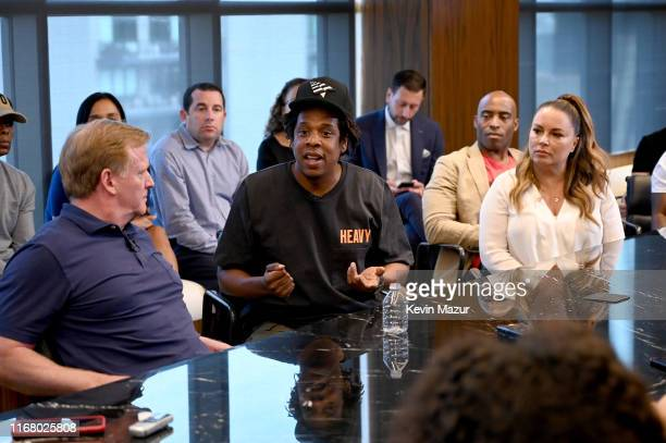 Commissioner Roger Goodell and Jay Z at the Roc Nation and NFL Partnership Announcement at Roc Nation on August 14 2019 in New York City
