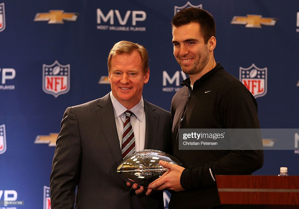 NFL Commissioner Roger Goodell and quarterback Joe Flacco of the Baltimore Ravens pose with the MVP trophy during the Super Bowl XLVII Team Winning Coach and MVP Press Conference at the Ernest N. Morial Convention Center on February 4, 2013 in New Orleans, Louisiana.