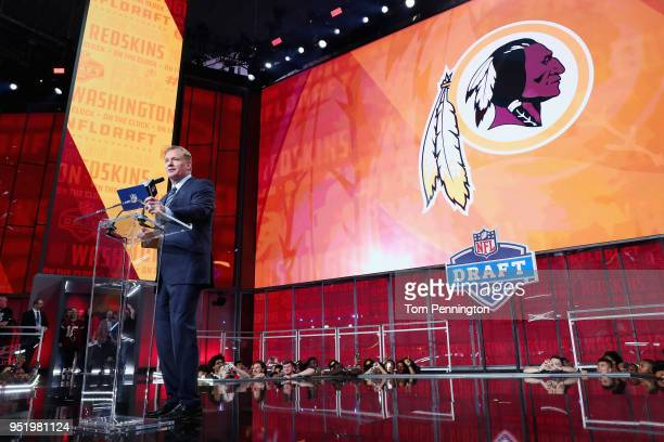Commissioner Roger Goodell announces a pick by the Washington Redskins during the first round of the 2018 NFL Draft at ATT Stadium on April 26 2018...