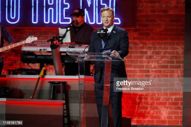 Commissioner Roger Goodell announces San Francisco 49ers picking Nick Bosa second overall by the San Francisco 49ers on day 1 of the 2019 NFL Draft...