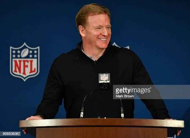 Commissioner Roger Goodell answers questions during the closing press conference at the 2018 NFL Annual Meetings at The RitzCarlton Orlando Great...
