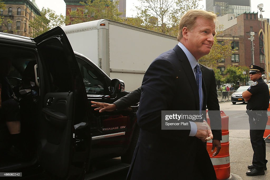 Commissioner Roger Goodell arrives at federal court for a lawsuit over Quarterback Tom Brady of the New England Patriots' four game suspension on August 31, 2015 in New York City. U.S. District Judge Richard Berman has required NFL commissioner Roger Goodell and Brady to be present in court when the NFL and NFL Players Association reconvene their dispute over Brady's four-game Deflategate suspension.