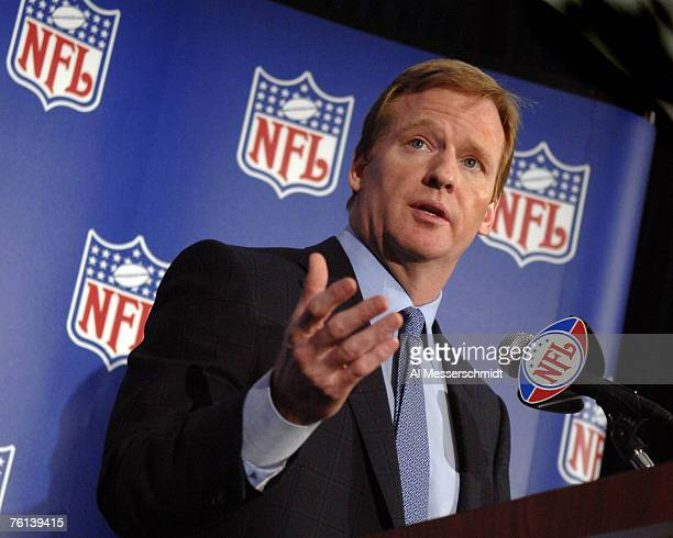 NFL Commissioner Roger Goodell at a media press conference at the league's 2007 annual meeting at the Arizona Biltmore in Phoenix Arizona on March 26...