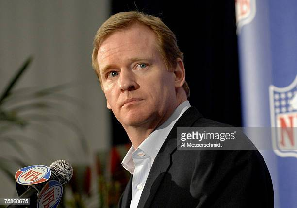 Commissioner Roger Goodell at a press conference at the NFL's 2007 annual meeting at the Arizona Biltmore in Phoenix Arizona on March 28 2007