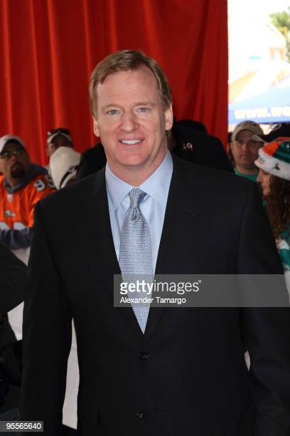 Commissioner Roger Goodell attends the Miami Dolphins game at Landshark Stadium on January 3 2010 in Miami Florida