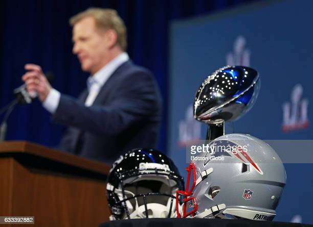 Commissioner Roger Goodell backgrounds holds his annual Super Bowl press conference in the Bush Ballroom at the Media Center at the George R Brown...