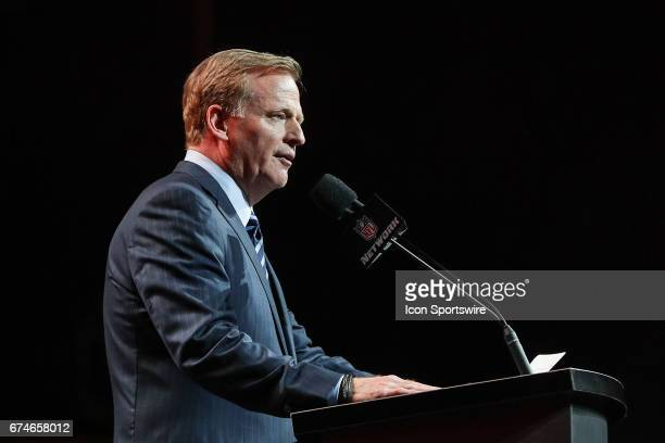 Commissioner Roger Goodell during the first round of the 2017 NFL Draft at the NFL Draft Theater on April 27 2017 in Philadelphia PA