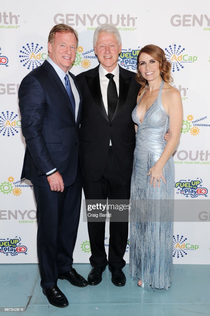NFL Commissioner Roger Goodell, former U.S. President Bill Clinton, and CEO of GENYOUth Alexis Glick attend the Second Annual GENYOUth Gala at Intrepid Sea-Air-Space Museum on December 6, 2017 in New York City.
