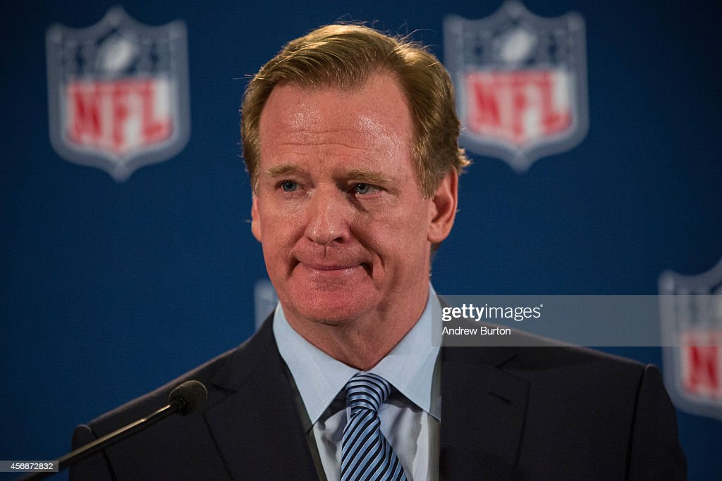 Commissioner Roger Goodell holds a press conference on October 8, 2014 in New York City. Goodell addressed the media at the conclusion of the annual Fall league meeting in the wake of a string of high-profile incidents, including the domestic violence case of Ray Rice.