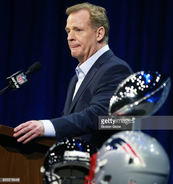 Commissioner Roger Goodell holds his annual Super Bowl press conference in the Bush Ballroom at the Media Center at the George R Brown Convention...