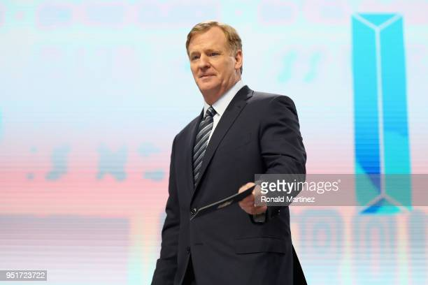 Commissioner Roger Goodell looks on during the first round of the 2018 NFL Draft at ATT Stadium on April 26 2018 in Arlington Texas