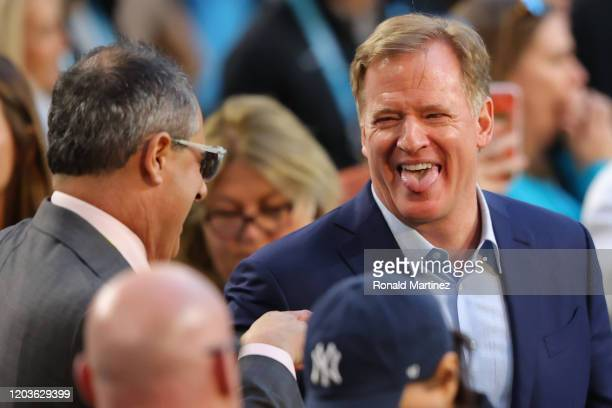 Commissioner Roger Goodell looks on prior to Super Bowl LIV between the San Francisco 49ers and the Kansas City Chiefs at Hard Rock Stadium on...