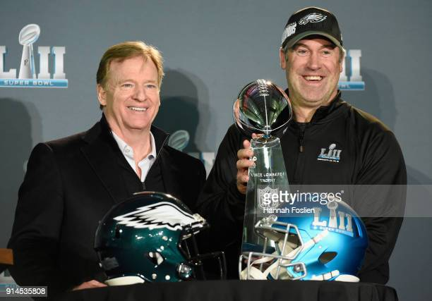 Commissioner Roger Goodell poses for a photo with head coach Doug Pederson of the Philadelphia Eagles and the Vince Lombardi Trophy during Super Bowl...